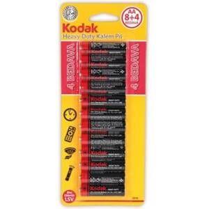 Kodak AA Kalem Pil 8+4 12 li paket Çinko Karbon Pil Heavy Duty