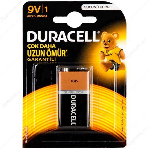 Duracell 9V Pil Alkalin 9Volt Pil Tekli Paket 6LP3146 MN1604