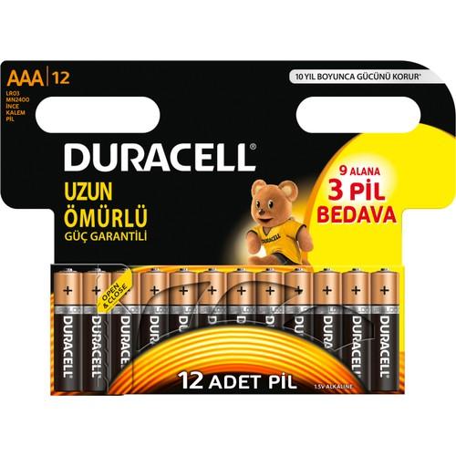 Duracell ince Kalem Pil AAA 9+3 = 12li paket Alkalin Pil LR03 MN2400
