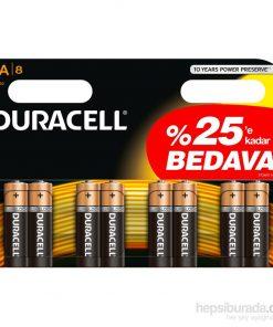 Duracell Kalem Pil AA 6+2 = 8li paket Alkalin Pil LR6 MN1500