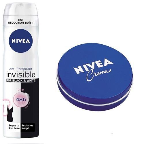 Nivea Invisible Black White Clear Spray Deodorant + Krem 30 ml Hediye