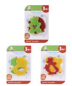 Bebeklere Diş Kaşıyıcı Sevimli Meyveler Dişlik 2li Set BPAsız Zuzu