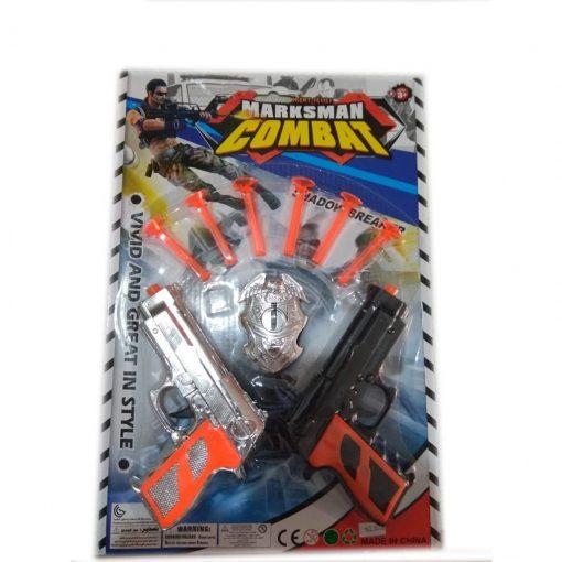 Ok Atan Tabanca 2 Silah Polis Seti Plastik Oyuncak Yapışan Mermi