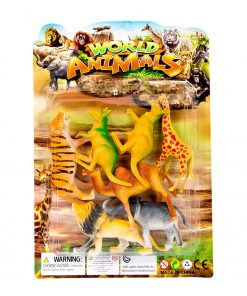 Oyuncak Hayvan Seti Kartela Aslan Kaplan Zürafa Kanguru Deve Fil