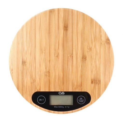 Bambu Dijital Mutfak Tartısı Cvs Ahşap Elektronik Mutfak Terazisi Yuvarlak
