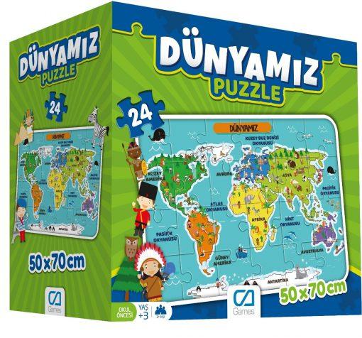 Dünyamız Eğitici Puzzle 24 Parça Yapboz Oyuncak Ca Games 5025 Okul Öncesi