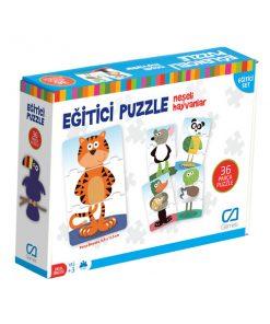 Eğitici Puzzle Neşeli Hayvanlar 36 Parça Yapboz Oyuncak Ca Games 5028 Okul Öncesi