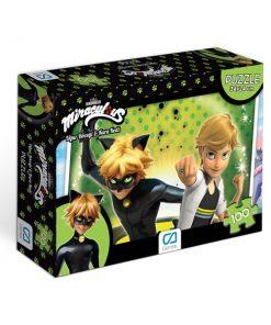 Miraculous Kara Kedi &  Uğur Böceği Puzzle 100 Yapboz Ca Games 5004