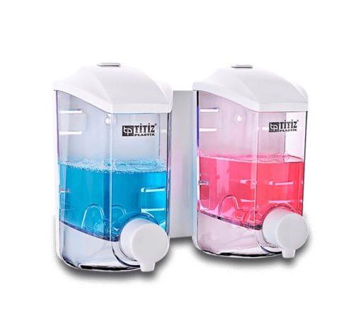 İkili Damla Sıvı Sabun Makinesi 2x400ml Titiz TP-290