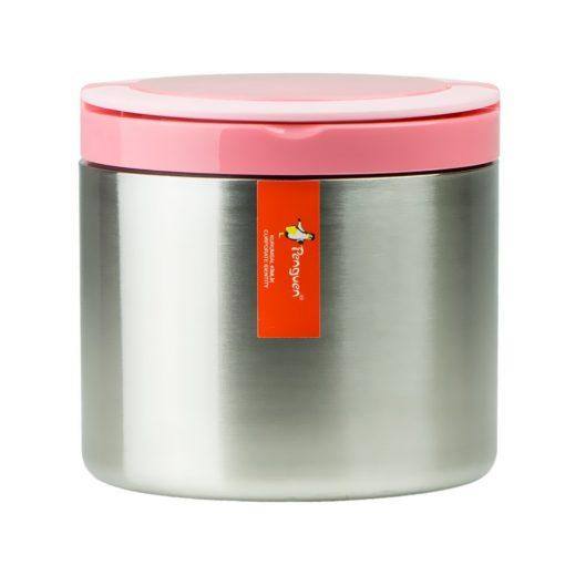 Penguen Paslanmaz Çelik Tek Katlı Yemek Termosu Sefer Tası Png1301 Pembe