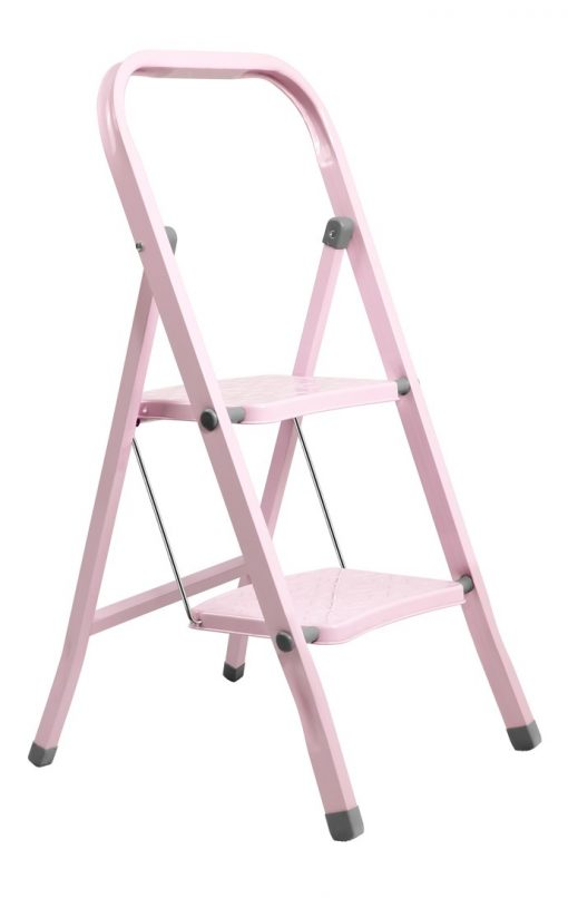 Perilla 2 Basamaklı Katlanır Metal Merdiven Toz Pembe Renkli Boyalı
