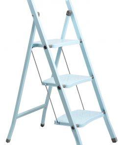 Perilla 3 Basamaklı Katlanır Metal Merdiven Toz Mavi Renkli Boyalı