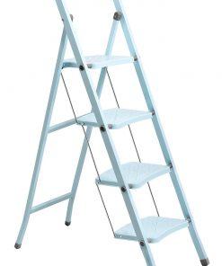 Perilla 4 Basamaklı Katlanır Metal Merdiven Toz Mavi Renkli Boyalı