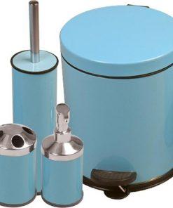 Perilla 4lü Banyo Takımı Seti Mavi - Klozet Fırçası+5LT Çöp Kovası+Diş Fırçalık+Sıvı Sabunluk