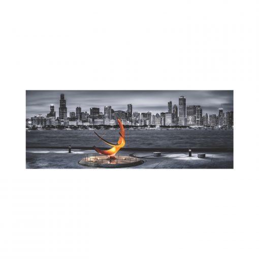 1000 Parça Yap boz Panaromik Chicago 34x96 Puzzle Keskin Color Puzz