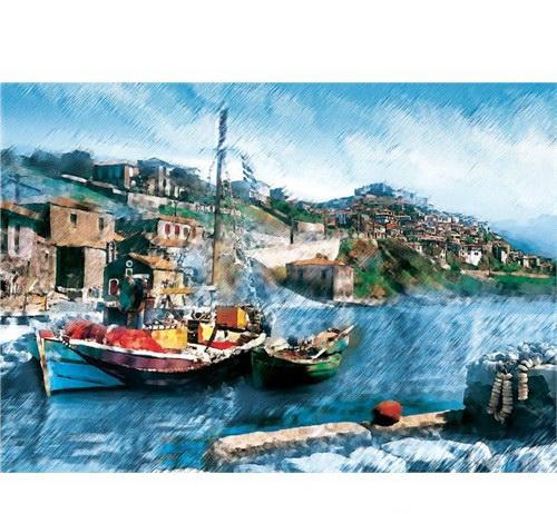 2000 Parça Yap boz Balıkçı Teknesi 70x100 Puzzle Keskin Color Puzz