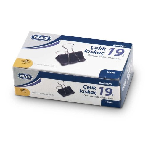 Mas Omega Çelik Kıskaç Düzine 19 mm Siyah