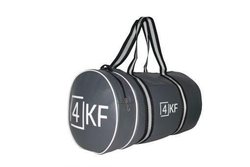 4KF Spor Çantası Klasik Yuvarlak Askılı Silindir Fitness Okul Gezi Gym Çantası Gri