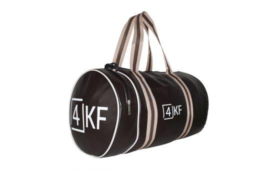 4KF Spor Çantası Klasik Yuvarlak Askılı Silindir Fitness Okul Gezi Gym Çantası Kahverengi