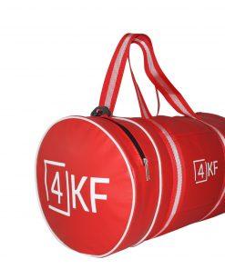 4KF Spor Çantası Klasik Yuvarlak Askılı Silindir Fitness Okul Gezi Gym Çantası Kırmızı