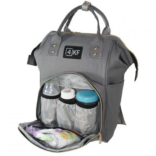 4KF Anne Bebek Bakım Sırt Çantası Fonksiyonel Su Geçirmez Çanta Gri