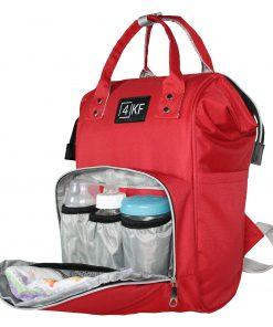 4KF Anne Bebek Bakım Sırt Çantası Fonksiyonel Su Geçirmez Çanta Kırmızı