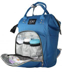 4KF Anne Bebek Bakım Sırt Çantası Fonksiyonel Su Geçirmez Çanta Mavi