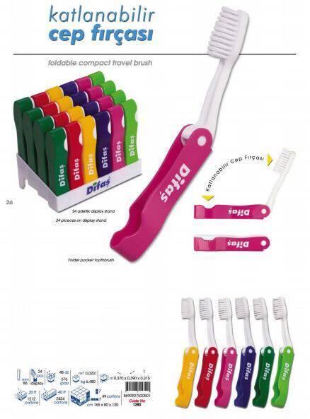 Seyahat Diş Fırçası Kabının İçine Katlanabilir Cep Boy Diş Fırçası