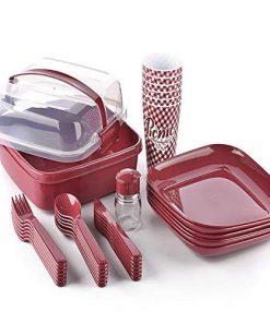 Plastik Piknik Seti 32 Parça  İçiçe Geçebilen Çatal + Kaşık + Bıçaklı Titiz Lovely Ap 9146