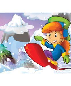 100 Parça Çocuk Yap boz 23.5x33.5 Puzzle Keskin Color Puzz Kayak Keyfi Model 9