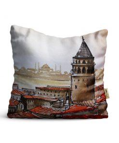 Kırlent Kılıfı 42x42cm Dekoratif Kırlent Yastık Kılıfı istanbul Galata Kulesi Modeli Ist 12
