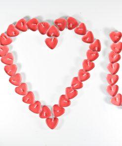 Sevgililer Günü Hediyesi Kalpli Mum Tealight 50li Paket Kalp Şeklinde Kırmızı Mum Seti